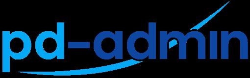 Logo pd-admin - Buchstaben in hellem und dunklen Blau